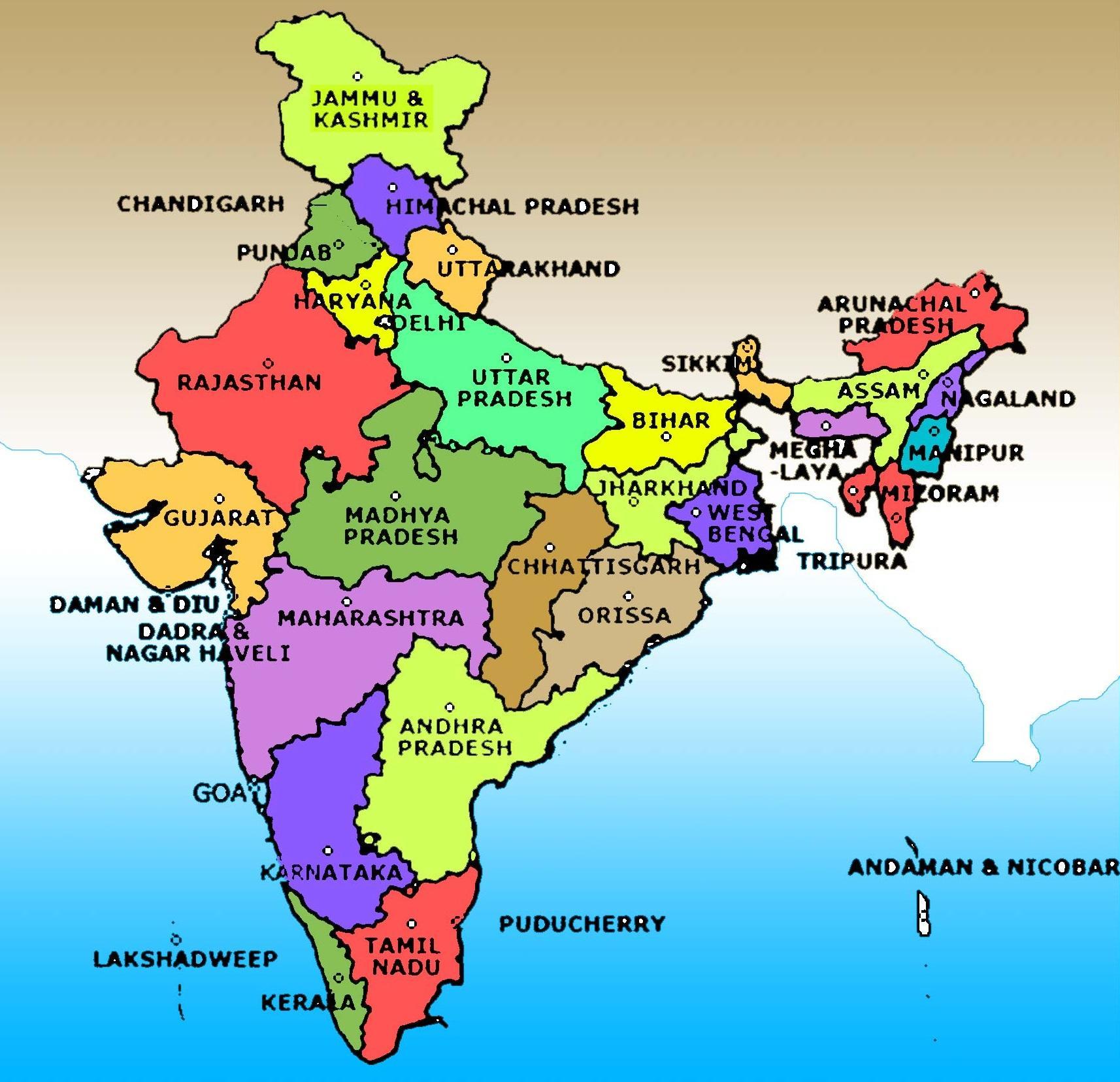 Indien Karta Bilden Med Statens Namn Karta Over Indien Bild Med
