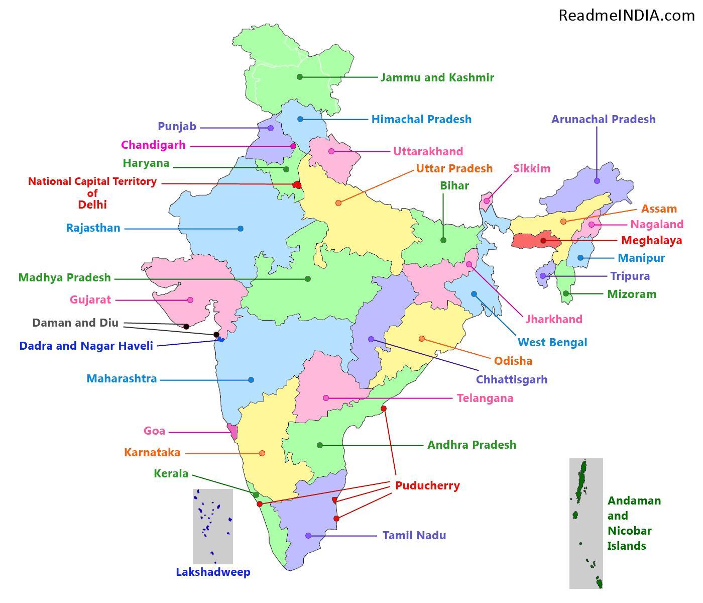 Indien Karta Med 29 Stater 29 Delstater I Indien Karta Sodra