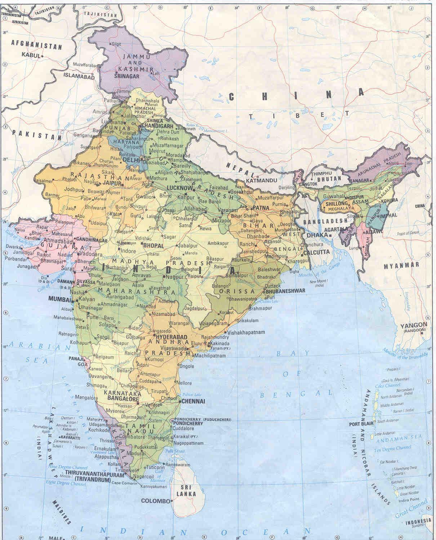 Karta Over Indien Med Stader Karta 2020