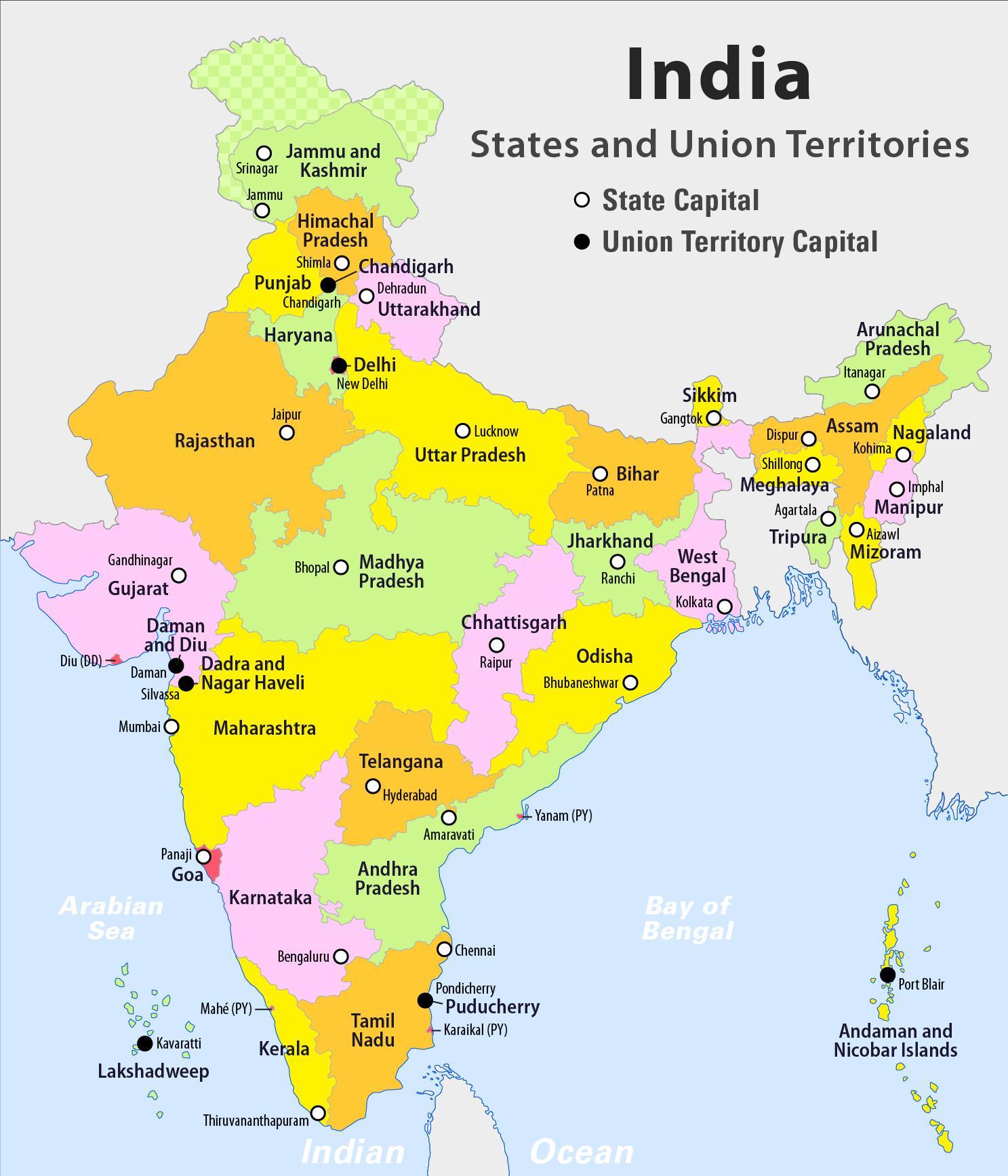 Indien Karta Med Stater Hd Hd Indien Karta Med Staterna Sodra