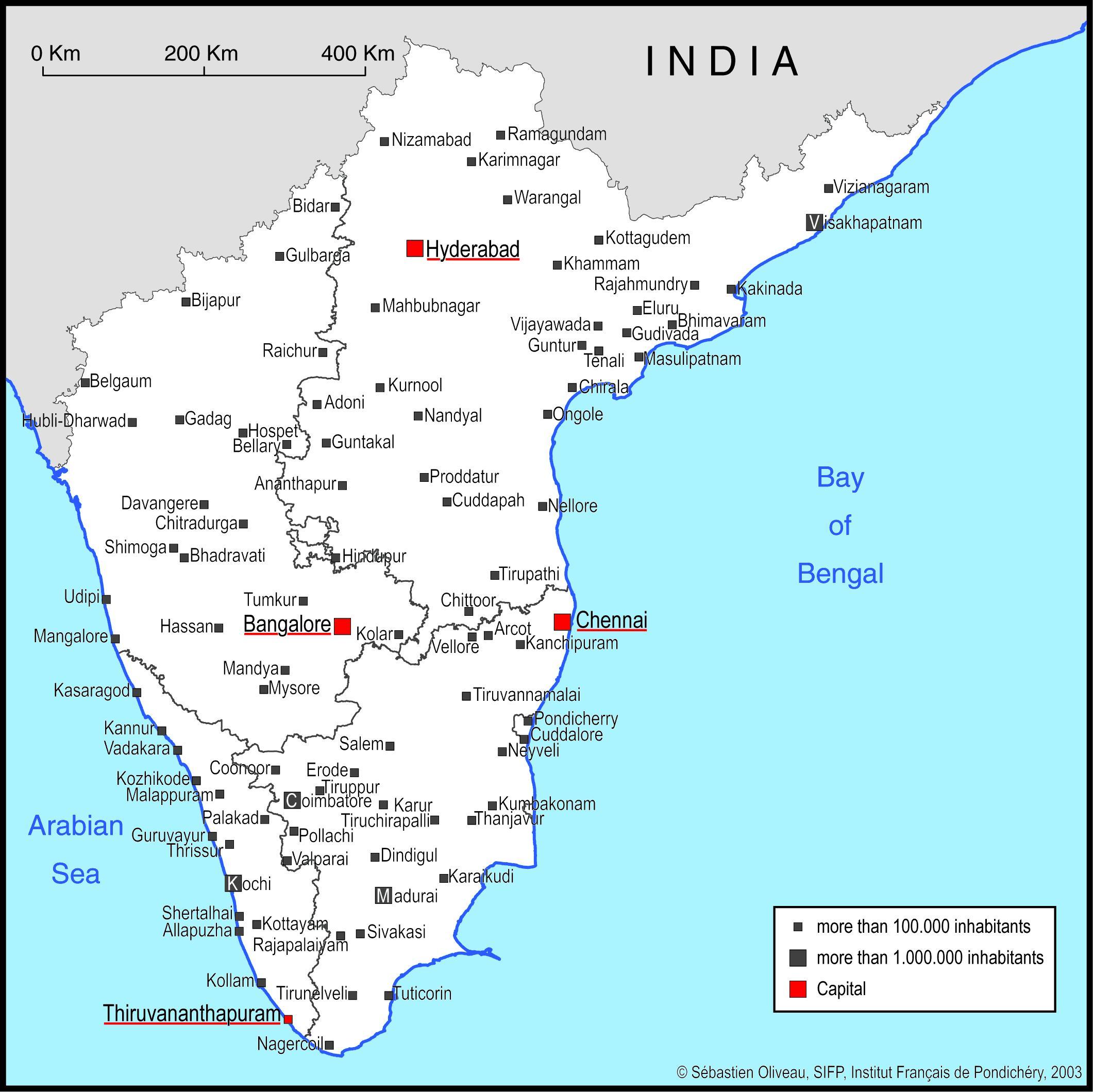 Karta Over Sodra Indien Med Stora Stader Sodra Indien Karta Med