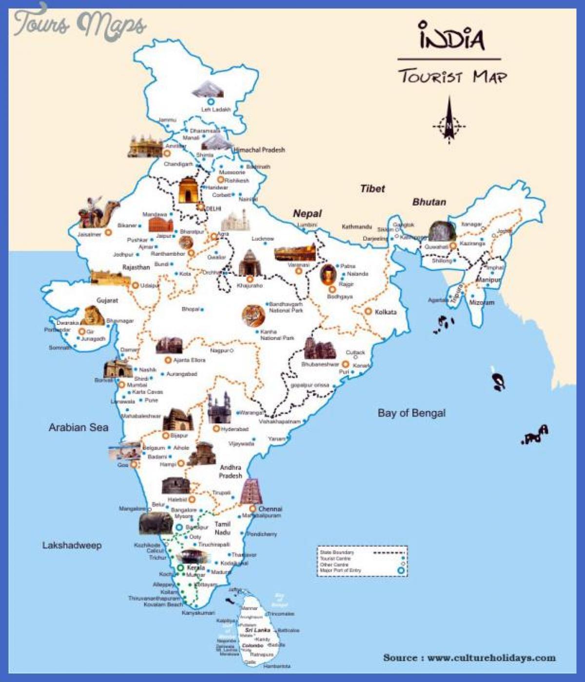Indien Attraktion Karta Indien Sevardheter Karta Sodra Asien Asien