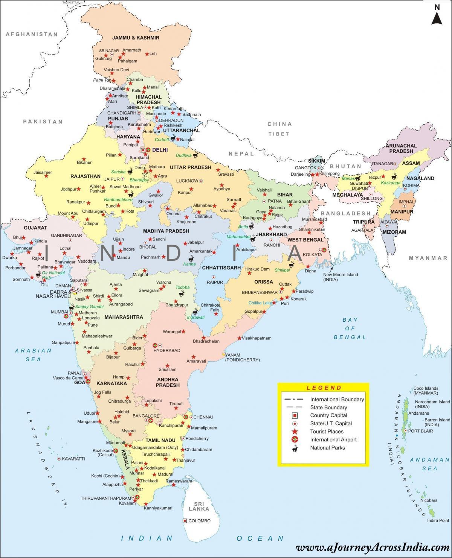 Indien Karta Med Alla Stader Karta Over Indien Med Stater Och