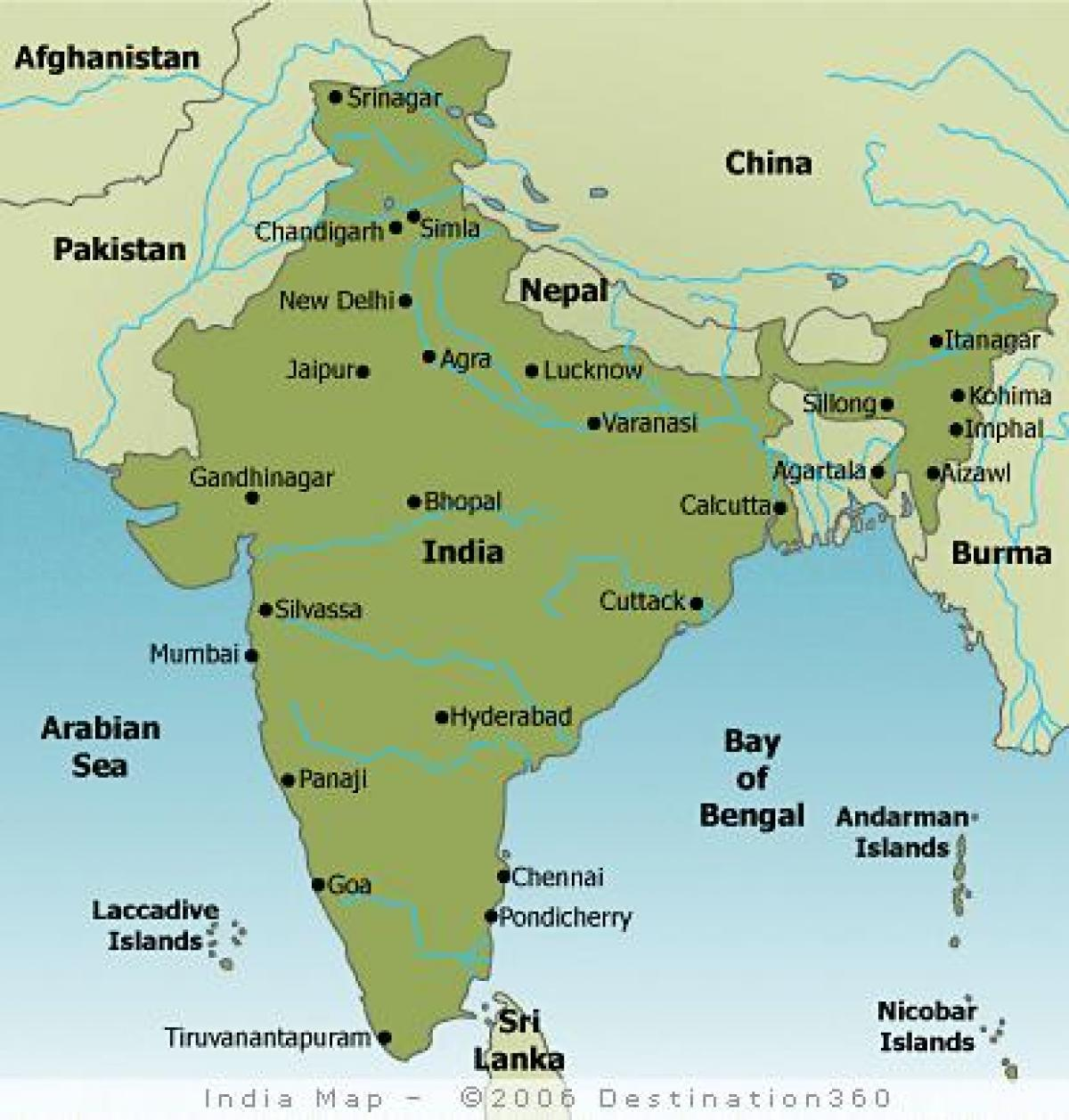Indien Storre Stader Karta Karta Over Storre Stader I Indien