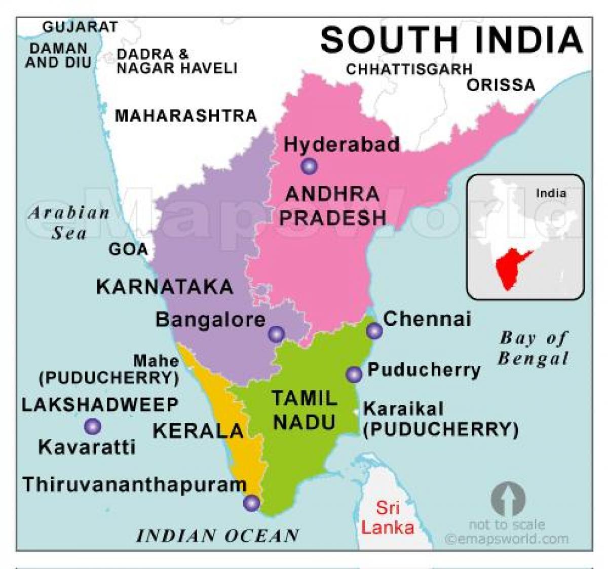 Karta Over Sodra Indien Sodra Indien Karta Sodra Asien Asien