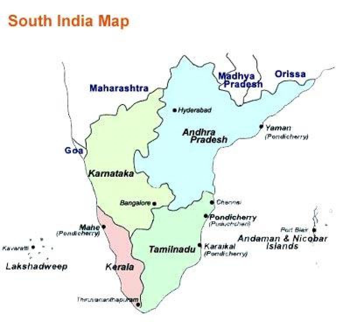 Sodra Indien Karta Med Stader Karta Over Sodra Indien Med Stader