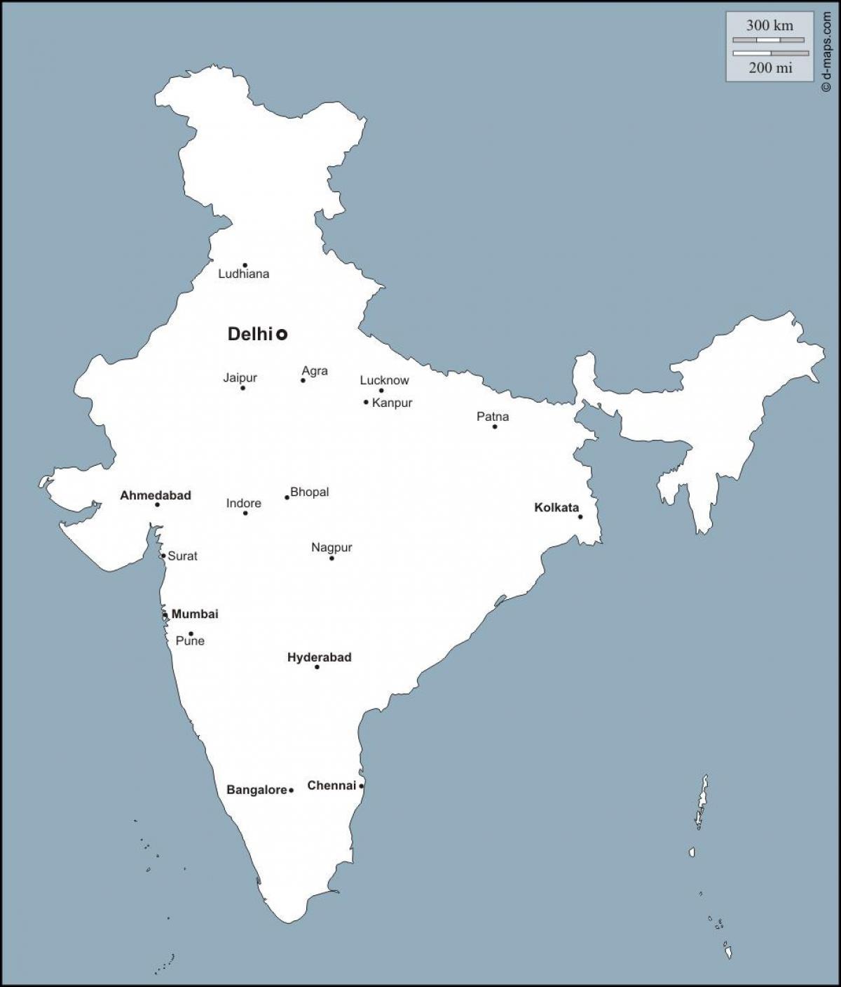 Viktiga Stader I Indien Karta Karta Over Indien Med Viktiga